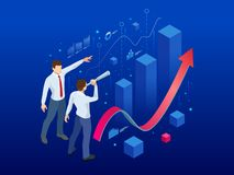 Isometric affiliate business, business perspective concept. Businessman looking to the future for new business royalty free illustration