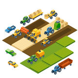 Isometric agricultural equipment, farm tractors. Trailers and pickup. Transportation pickup, field nature landscape, harvest and grain, lawn and wheat. Vector Royalty Free Stock Photography