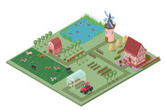Isometric Agricultural Farming Concept Stock Image