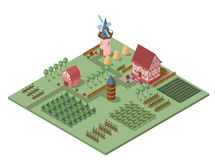 Isometric Agricultural Landscape Template Royalty Free Stock Image