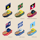 Isometric ahips with flags: Guadeloupe, Dominica, Antigua, Marti Stock Photography