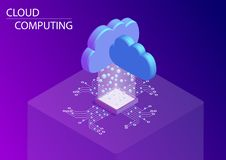 Cloud computing and as a service concept. 3d isometric vector illustration royalty free illustration