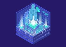 Financial technology concept with stacks of virtual dollars and data flow of transactions as isometric vector illustration royalty free illustration