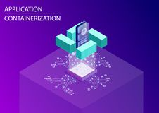 Software and application containerization concept. 3d isometric vector illustration with floating smart phone and containers as sy royalty free illustration