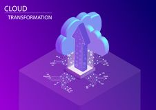 Cloud transformation and digitisation concept. 3d isometric vector illustration with floating arrow and cloud symbols stock photography