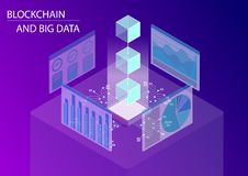 Blockchain and big data concept. 3d isometric vector illustration with floating blocks including monitoring dashboards stock photos