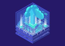 Cloud transformation concept with symbol of floating cloud and upload arrow as isometric 3d vector illustration royalty free stock photos