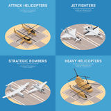 Isometric Air Force Icon Set. Four square isometric military air force icon set with attack helicopters jet fighters heavy helicopters and others descriptions Stock Photography