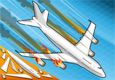 Isometric airplane falling down with engines on fire Stock Photography