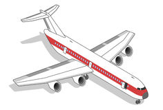 Isometric Airplane with red stripe. Landed Airplane with red stripe Stock Images