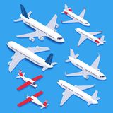 Isometric airplanes. Passenger jet airplane, private aircraft and airline plane. Aviation planes 3d isolated vector set royalty free illustration