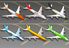 Isometric airplanes in six livery. Royalty Free Stock Images
