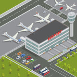Isometric Airport Building. Airport Terminal with Planes Royalty Free Stock Photos
