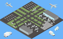 Isometric airport buildings, airplanes on the apron and runway Royalty Free Stock Image