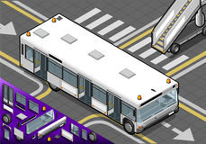 Isometric Airport Bus with Open Doors in Front View Royalty Free Stock Image