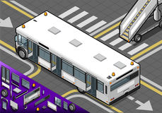 Isometric Airport Bus with Open Doors in Rear View Royalty Free Stock Photo