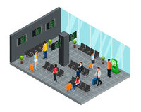 Isometric Airport Departure Lounge Concept. With passengers waiting for flight boarding vector illustration Royalty Free Stock Photos