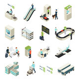 Isometric Airport Elements Set. With passengers staff building vehicles interior objects main zones and halls isolated vector illustration vector illustration
