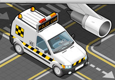 Isometric Airport Follow Me Car in Front View Stock Images