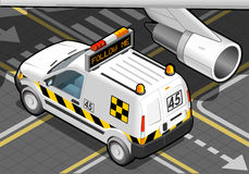 Isometric Airport Follow Me Car in Rear View Stock Images