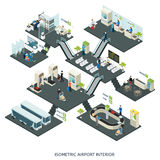 Isometric Airport Halls Composition. With people check-in counter terminal customs control departure gates lounge cafe restroom vector illustration vector illustration