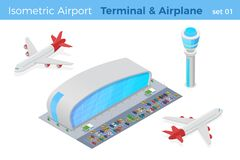 Free Isometric Airport Terminal With Parking Air Traffic Navigation Control Tower Plane Front And Airplane Back Vector Illustration Royalty Free Stock Photography - 174300237