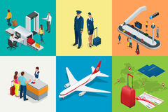 Isometric Airport Travel and transport Icons. Isolated people, airport terminal, airplane, traveler man and woman royalty free illustration