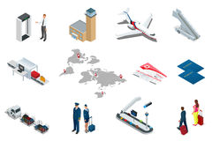 Isometric Airport Travel and transport Icons. Isolated people, airport terminal, airplane, traveler man and woman. Airport runway, plane, runway, airport Stock Image