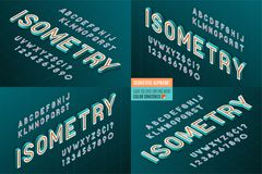 Free Isometric Alphabet 4 In 1. 3d Letters And Numbers. Royalty Free Stock Photos - 109071218