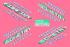 Free Isometric Alphabet 4 In 1. 3d Letters And Numbers Royalty Free Stock Photography - 109151407