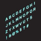 Isometric alphabet.3d. A font on dark background. Symbols and signs. A vector illustration in three-dimensional style Stock Images