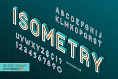 Isometric alphabet. 3d letters and numbers. Color swatches control stock illustration