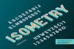 Isometric alphabet. 3d letters and numbers. Color swatches control royalty free illustration