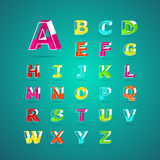 Isometric alphabet font.Capital letter A to Z. Vector illustration Royalty Free Stock Photography