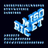 Isometric alphabet font. 3d effect letters and numbers. Stock vector typeface for your design Royalty Free Stock Photo