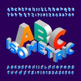 Isometric alphabet font. 3d effect letters, numbers and symbols. Stock vector typeface for any typography design Royalty Free Stock Images