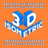 Isometric alphabet font. 3d effect letters, numbers and symbols. Stock Images