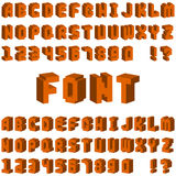 Isometric alphabet font 3D letters for web mobile device vector. Stock Image
