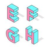 Isometric alphabet font isolated. Stock Photos
