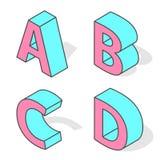 Isometric alphabet font isolated. Royalty Free Stock Image