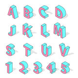 Isometric alphabet font isolated vector. Stock Images