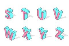 Isometric alphabet font isolated vector. Stock Image