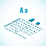 Isometric alphabet and font, small and large letters design element. Stock Photo