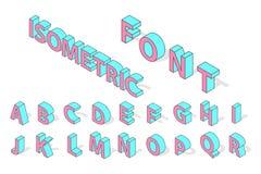 Isometric alphabet font . Royalty Free Stock Image