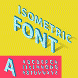 Isometric alphabet and grid, font with geometric Royalty Free Stock Images