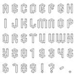 Isometric Alphabet and Numbers Stock Images