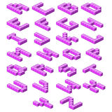 Isometric alphabet. purple abc. Volumetric letters. Stock Image