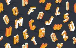 Isometric alphabet vector abc seamless pattern background stock illustration