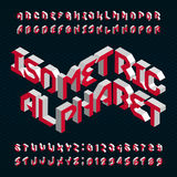 Isometric alphabet vector font. 3D letters and numbers. Stock Image