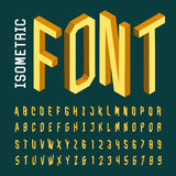 Isometric alphabet vector font. Royalty Free Stock Image